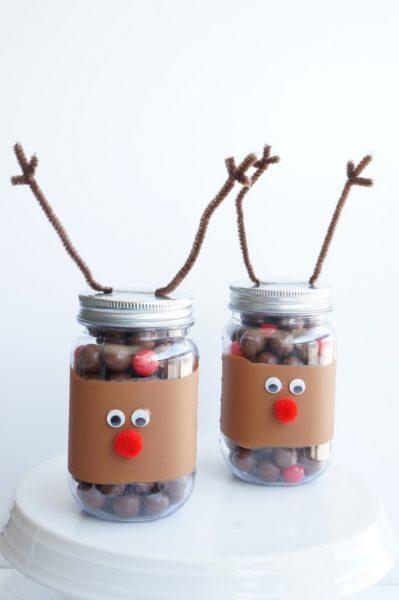 vertical reindeer noses mason jar craft