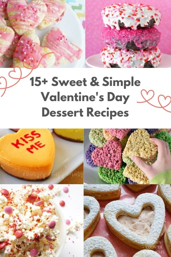 easy valentines day baking recipes collage of cookies cakes and popcorn