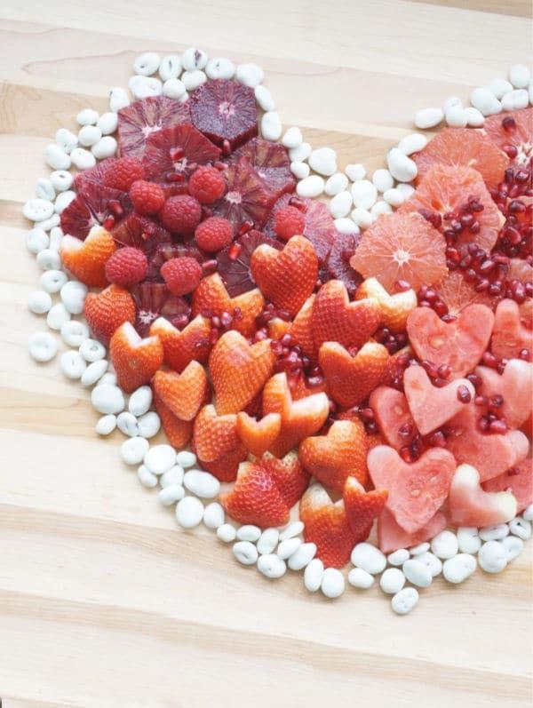 close up of fruit heart valentine fruit tray