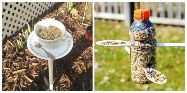 diy bird feeder for kids tea cup and bottle bird feeder