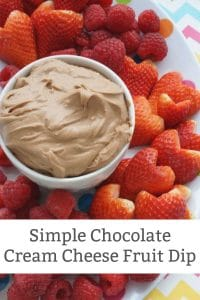 easy chocolate cream cheese fruit dip in bowl