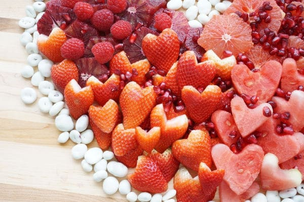 heart fruit tray close up of fruit