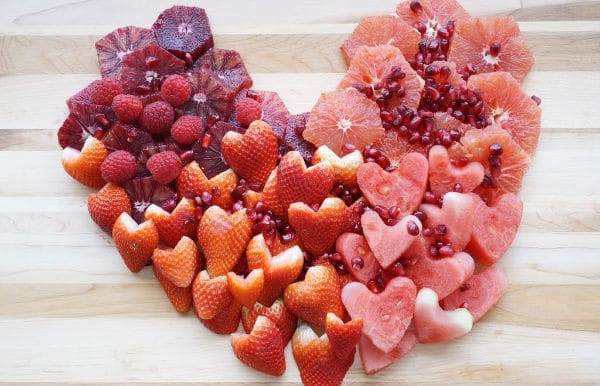 heart valentine day fruit tray with seeds