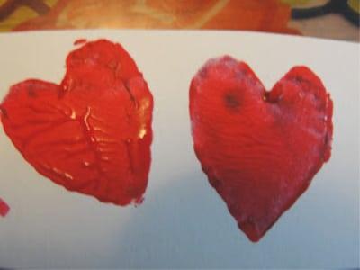 potato stamp heart valentine craft for kids