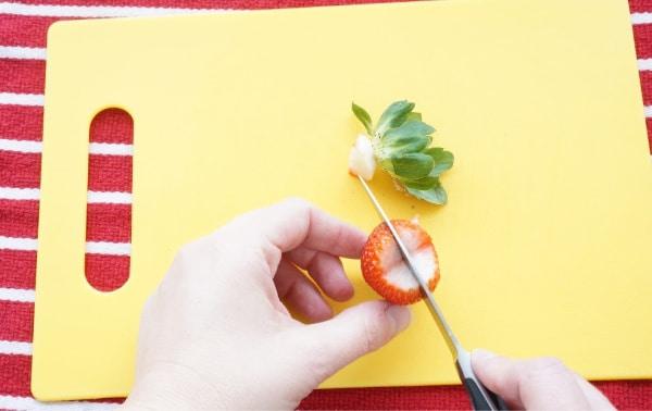 strawberry heart cutting in half