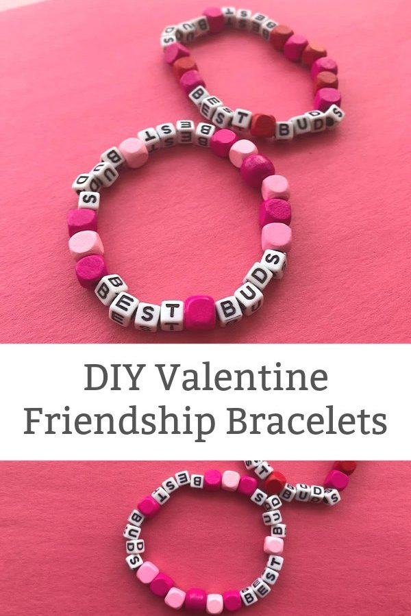 DIY friendship bracelet with letter beads Valentine's Day crafts for tweens