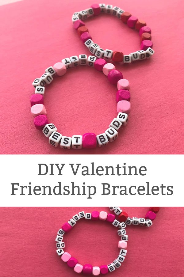 DIY friendship bracelet with letter beads Valentine's Day crafts for tweens