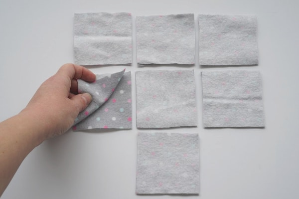 reusable make up pad squares cut out of fabric