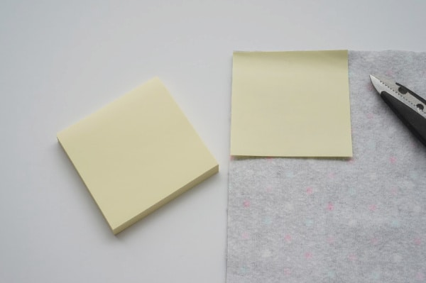 reusable make up pad template and post it note on flannel fabric