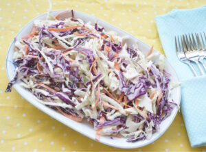 classic creamy coleslaw in bowl