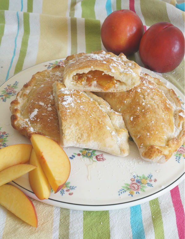 nectarine calzones baked and cut in half