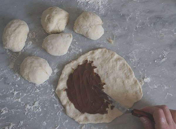 nutella spread on calzone dough