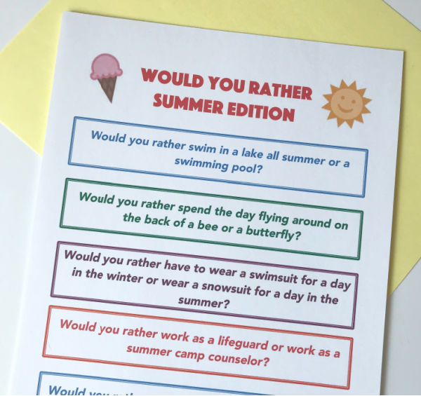 sample of first page of summer would you rather game