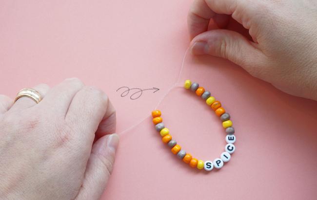 surgeons knot in bracelet