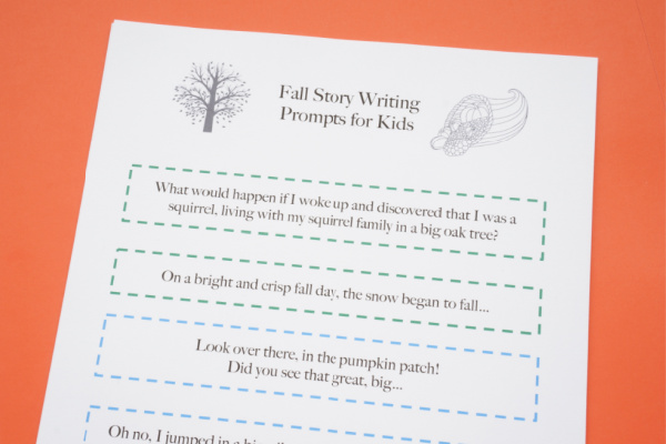 fall creative story telling prompts for kids