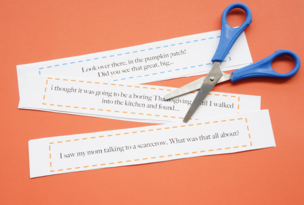 fall writing prompts cut out with scissors