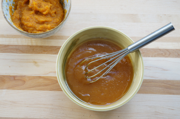 pumpkin puree whisked for granola