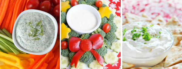 vegetable dips collage