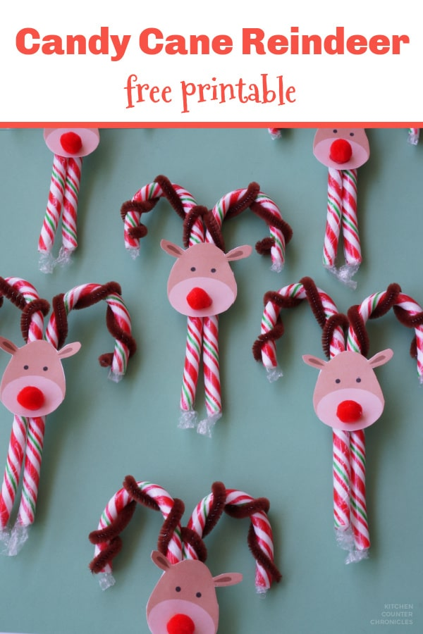 candy cane reindeer craft final image