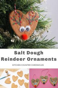 salt dough reindeer ornaments hanging in tree