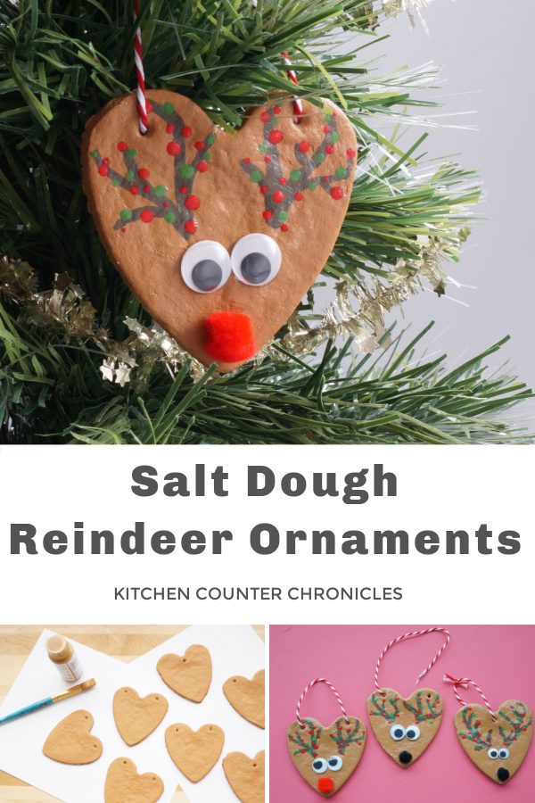 salt dough reindeer ornaments hanging in tree