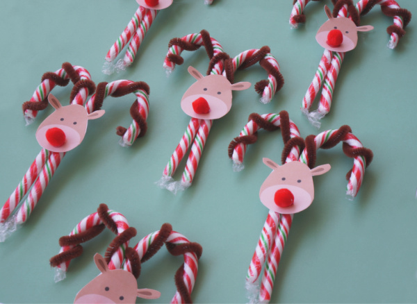 candy cane reindeer craft all done