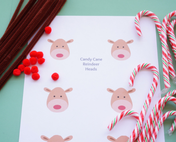 candy cane reindeer craft supplies pompoms pipe cleaners candy canes and printable reindeer faces
