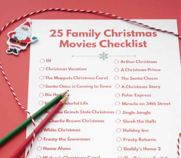 close up of family christmas movies checklist