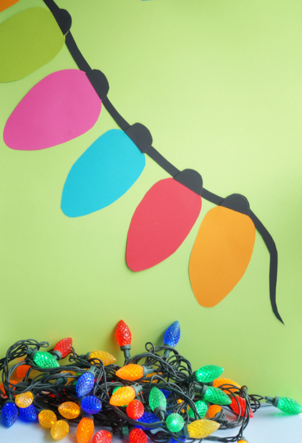 jumbo paper christmas light garland on wall