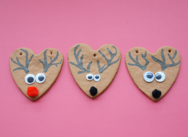 salt dough reindeer ornaments with antlers painted on