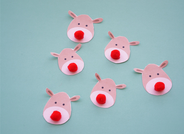 reindeer printable cut out with red pompom noses