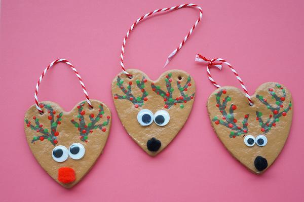 reindeer salt dough ornaments with string through holes