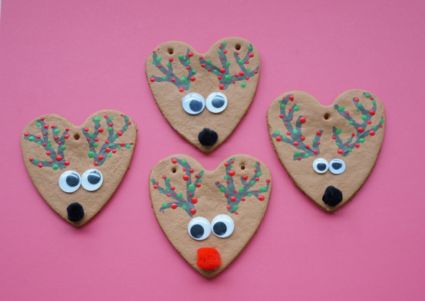 salt dough rudolph and reindeer with red and green dots on antlers