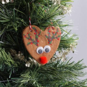 salt dough rudolph ornament in tree