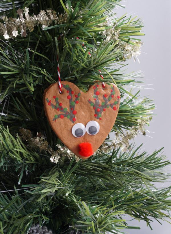 salt dough rudolph ornament in tree