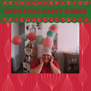 reindeer stocking antler game picture of woman with stockings and balloons on head