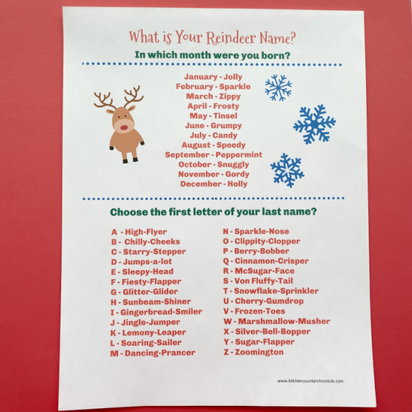 what's your reindeer name game printable image
