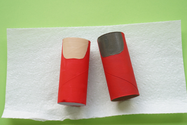 cardboard tube santa with red suit and face