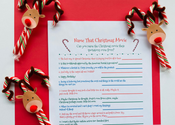 christmas movie game printed out with candy canes