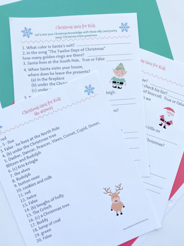 christmas quiz for kids printed out with answers