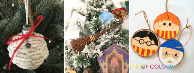 diy harry potter book ornaments, broomsticks, wood slices