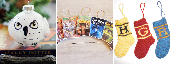 harry potter hedwig, book, stocking ornaments