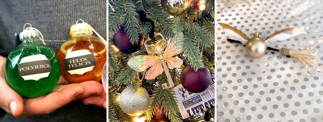 diy harry potter potions, flying key and snitch ornament