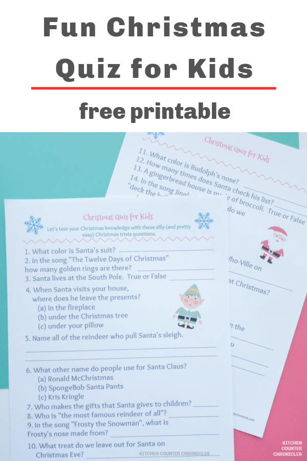 fun christmas quiz for kids printed out