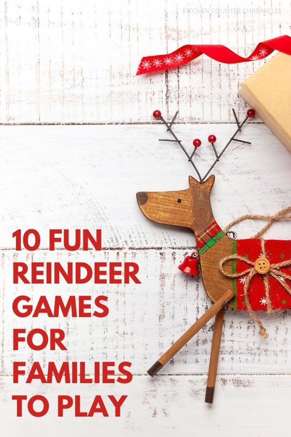Fun Reindeer Games for Kids to Play featured image with wooden reindeer