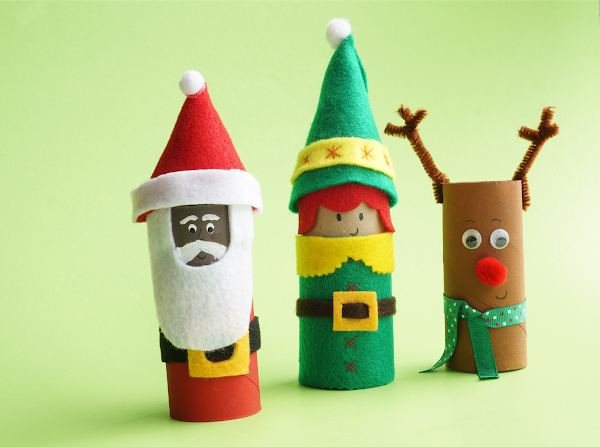 toilet roll crafts santa, elf and reindeer lined up