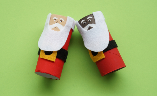 toilet paper roll santa with faces painted on