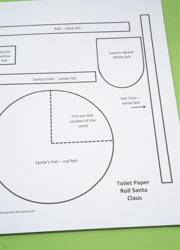 toilet roll santa template printable