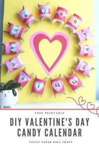 DIY valentines day countdown calendar printable toilet paper roll boxes on board