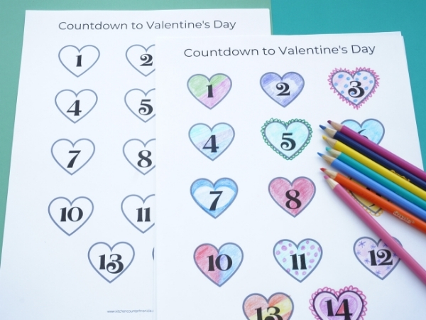 printable countdown to valentines day coloured hearts